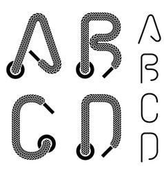 Shoe lace alphabet letters a b c d vector