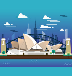 Sidney opera house and bridge for traveling vector