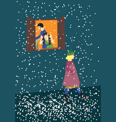 Snow some girl on the evening street vector