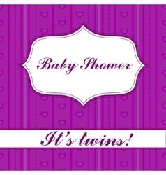 Striped baby shower twins vector
