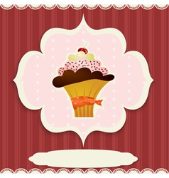 Vintage card with cupcake vector image