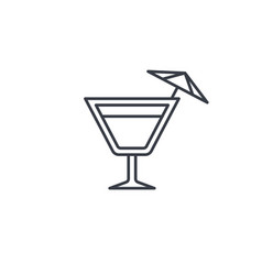 wine or cocktail glass icon thin line icon linear vector image