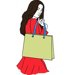 young woman with a shopping bag vector image vector image