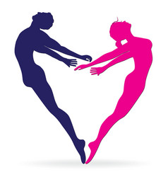 Man and woman body silhouette in heart vector