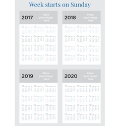 2017 calendar planner week starts on sunday vector