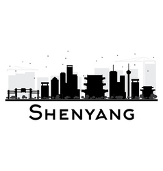 Shenyang city skyline black and white silhouette vector