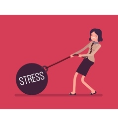 Businesswoman dragging a weight stress on chain vector