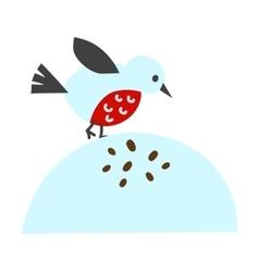 Cute blue bird cartoon animal character vector image