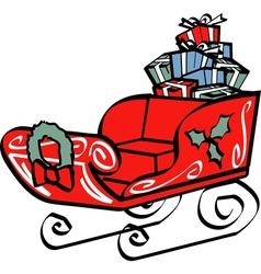 Christmas sleigh vector image