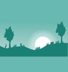 Silhouette of bunny and moon landscape vector