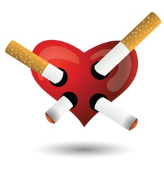 Red heart and cigarettes vector