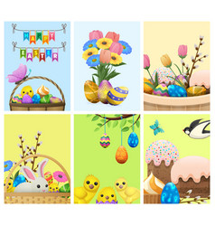 Easter festive cartoon concepts collection vector