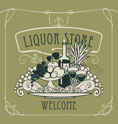 Banner for liquor store with a still life vector