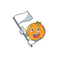 Orange fruit cartoon character with flag vector