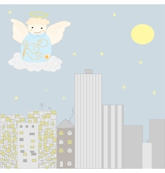Angel at the sky vector