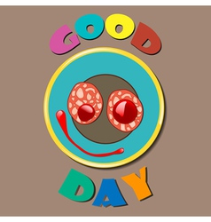 Comic color plate good day vector