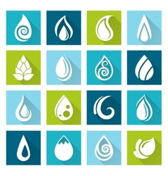 Set of water drops icons vector image