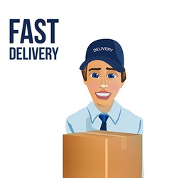 Fast delivery messenger with box vector