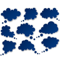 Set of paper blue clouds vector