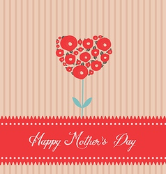 Happy mothers day tree heart greeting card vector