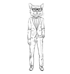 Cat dressed up in tuxedo vector