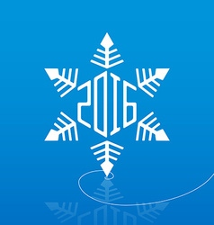 White snowflake on ice with reflection and new vector