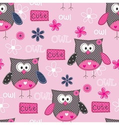 Seamless pattern with cute owls vector