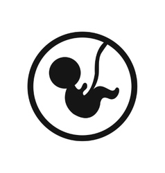 Stylish black and white icon child in the womb vector