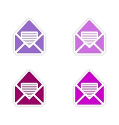 Assembly realistic sticker design on paper email vector