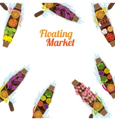 Floating market boat frame vector