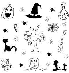 Halloween characters and attributes doodle set vector
