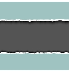 Gray ripped page on dark background relistic vector image