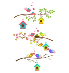 Funny color full bird flying on branch with cage vector