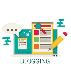 A laptop with blogging activity flat vector
