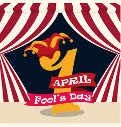 April fools day 1 number hat carnival vector
