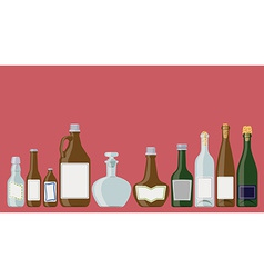 Bottles set alcoholic beverages vector image