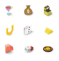 Casino accessories icons set isometric style vector
