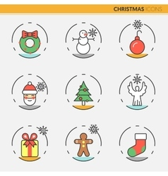 Christmas and happy new year 2017 thin line icons vector
