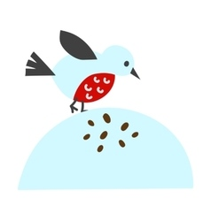 Cute blue bird cartoon animal character vector