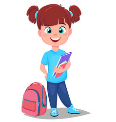 Cute redhead girl with books in casual clothes vector