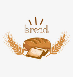 Delicious bread of wheat with chopped bread vector