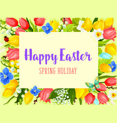 Easter flowers greeting card with floral frame vector