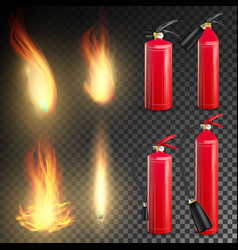 fire extinguisher sign 3d realistic fire vector image