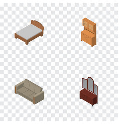 Isometric furnishing set of couch bedstead vector