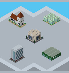 isometric urban set of warehouse office company vector image vector image
