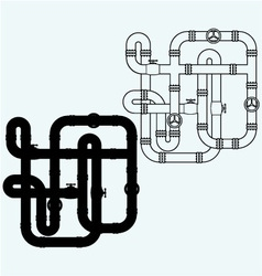 Maze of metal pipes sewerage vector image vector image
