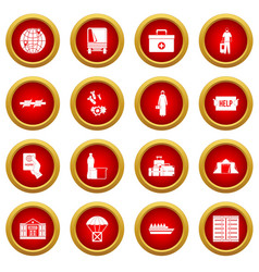 Refugees problem icon red circle set vector