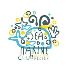 sea marine club original logo design summer vector image vector image