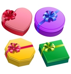 Set gift box with ribbon and bow vector image vector image