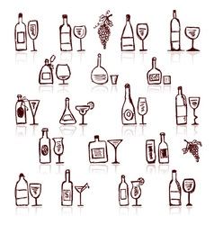 Set of alcohols bottles and wineglasses vector image vector image